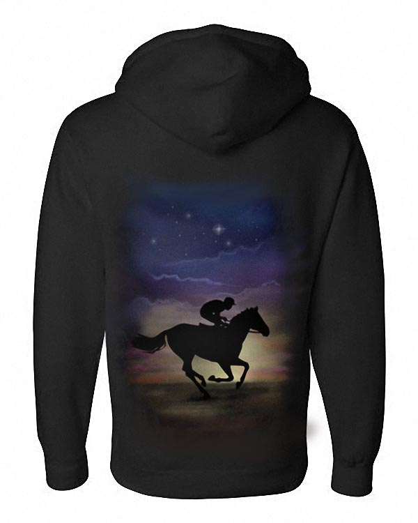Airbrushed Horse Racing Hoody Horse Rider Racing Equestrian Kids to