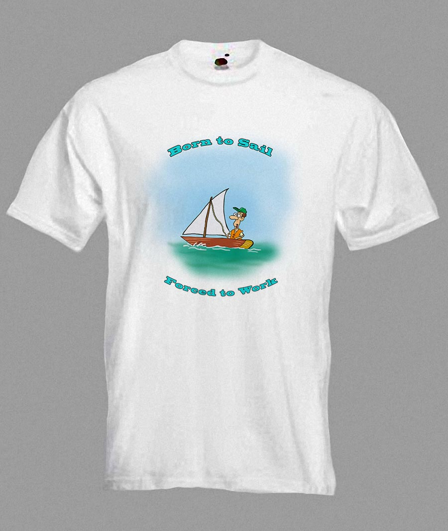 Cartoon Sailing Boat Funny T Shirt In All Sizes