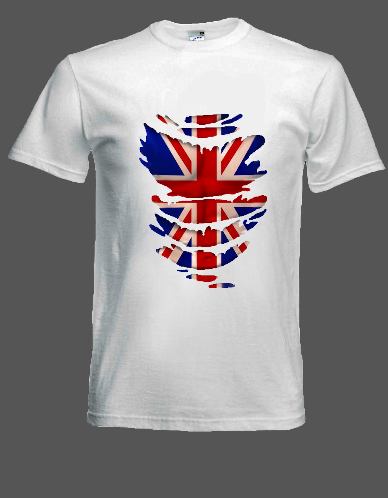 Union Jack Flag T Shirt Muscles Through Ripped Tee Shirt